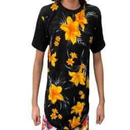 Kit 3 Camisa Blusa Masculina Longline Floral Swag Regata