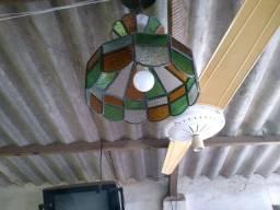 Luminária Pendente Antiga Toda em Vidro Colorido e Metal