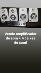 amplificador de som + quatro caixas de som