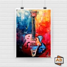 Kit 3 Posters Guitarras Tamanho A4 (21cm x 30cm)