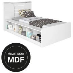 Cama solteiro com Nichos + cama auxiliar 100% MDF
