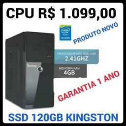 CPU NOVO, INTEL DUAL CORE 2.4GHZ, SSD 120GB e 4GB DDR3, novo, garantia 1 ano