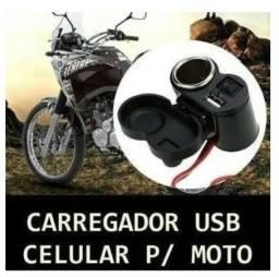Carregador Tomada Acendedor Para Moto Usb
