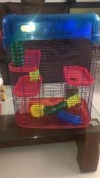 Gaiola 3 Andares Para Hamster Vermelha - usada