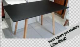Mesa Square com pés de madeira 1,20m. Entrega grátis em toda Macaé.