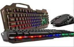 (Novo) Kit Teclado Semi Mecânico E Mouse Led Gamer Kp-2054 (Acabamento em metal)