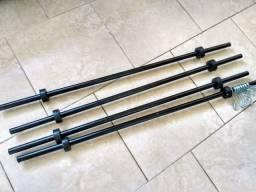 Título do anúncio: Barra 1,2m com Presilhas para Treino Musculação Funcional Body Pump Preta