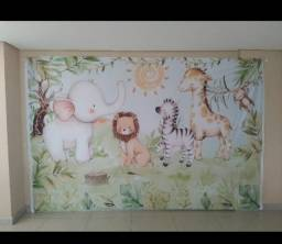 Título do anúncio: Painel Tecido Sublimado Para Aniversários  tema SAFARI BABY 3D<br><br>