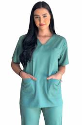 Conjunto Pijama Cirúrgico Unissex Verde Hospitalar