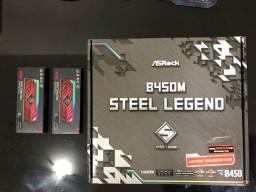 Kit Gamer Ryzen 3600x + B450m Steel legends + 16Gb Xpg