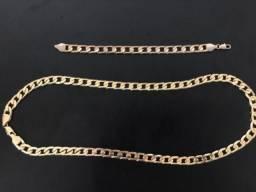 Conjunto Corrente e Pulseira 10 mm banhados a ouro 18k