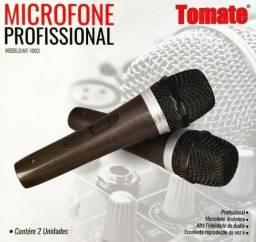 2 Microfone Com Fio Duplo Profissional Modelo Mt-1003, pesadinho