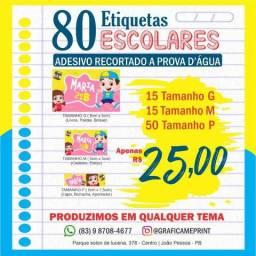 Kit 80 Etiquetas Escolares