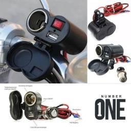Tomada carregador de celular para moto