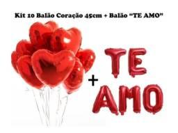 Kit 10 Balão Metalizado Coração Vermelho +letra Balão Te Amo