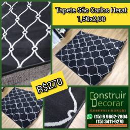 Tapete São Carlos Herat Export Preto e Cinza 1,50x2,00 - Novo