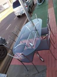Mesa de Vidro com Base em Inox SEMINOVA - Entrega GRÁTIS