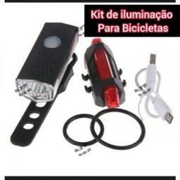 Kit Led para Bicicleta Recarregável Usb Dianteiro E Traseiro