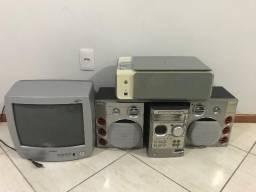"Micro System Philips, TV Semp Toshiba 14"" e impressora HP"