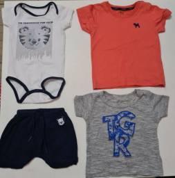 Lote de Roupas bebê menino camiseta Tigor P 0a3m