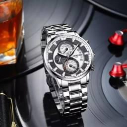 Relógio Nibosi Masculino Luxuoso Prateado Aço Inoxidável Modelo 2382