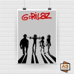 Kit 3 Posters Gorilaz Tamanho A4 (21cm x 30cm)