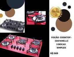 Fogão cooktop vermelho 437