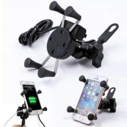Suporte Celular Moto GPS Saída carregador celular