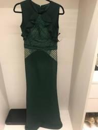 Vestido longo verde Patrícia Bonaldi NOVO tam 38