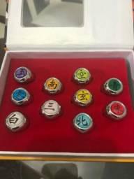 Lote 10 anéis Naruto ajustáveis novos e pronta entrega na caixa original