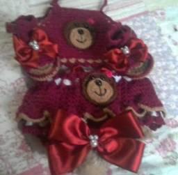 Conjunto de croche para bebe menina