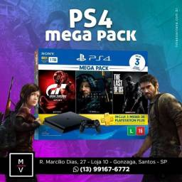 Ps4 Slim 1tb 3 Jogos Físico + Psn - Loja Fisica!!!