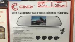 Sensor de estacionamento com retrovisor câmera de ré led visão noturna