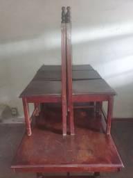 Mesa de madeira maciça Sucupira trabalhada