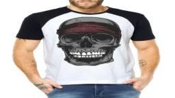 Kit 5 Camiseta Camisa Algodão Masculina Raglan Estampada