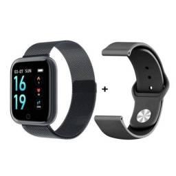 Kit Relógio Smartwatch Rose + 2 Pulseiras + Fone Bluetooth