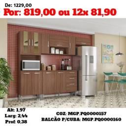 I Moveis- Cozinha Compacta Completa C/ Porta de Vidro- PGTO-Entrega Na Sua Casa