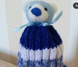 Título do anúncio: Gorro kids cachorrinho tricô tons de azul e branco.  Novo!