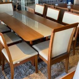 Mesa de jantar 8 toda na madeira maciça pura