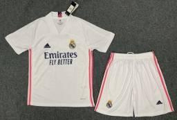 Conjunto Camisa G + Shorts G Real Madrid futebol