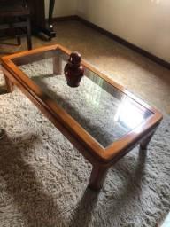 Mesa de centro vidro e madeira maciça