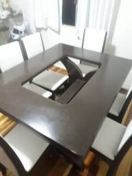 Messa madeira maciça.  centro vidro 6 cadeiras ate 12x cartao.