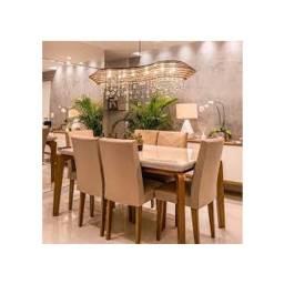 Mesa 6 Cadeiras R1057 100% MDF, vidro temperado 1,20 x 0,90 m. Entrega Rio e Niterói!