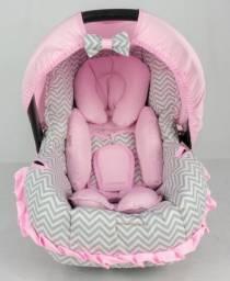 Capa Para Bebê Conforto + Acolchoado Extra - Chevron Rosa