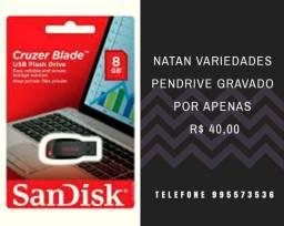 Pen drive gravado 8gb