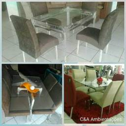 Mesa 4 cadeiras (alumínio legítimo)wap:985765329