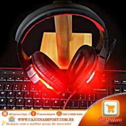 Headset Gamer SY830MV Estéreo Led Vermelho