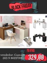 penteadeira em formato L com mesa de escritório na promoção