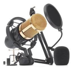 Kit Estudio Completo Microfone Profissional com Suporte e Pop Filter - Loja Natan Abreu