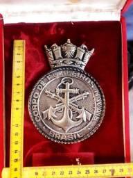 Medalhão medalha brasão fuzileiros navais bronze